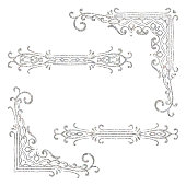 Set of vintage corners and dividers on white background. Silver texture hand drawn retro border. Design for wedding invitation or menu, banner, postcard, save the date card. Vector illustration.