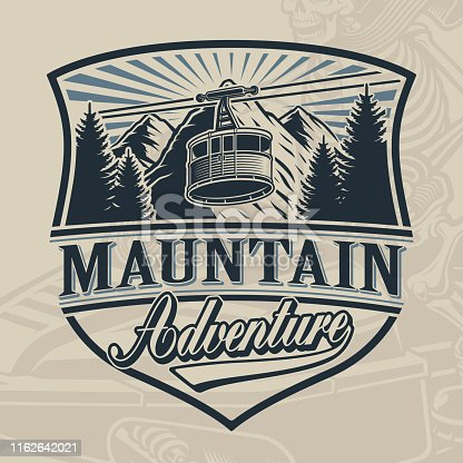 Vintage vector design of a ski lift with mountains on light background.