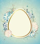 Vintage vector Easter card with blue and pink flowers. EPS 10 file, contains transparencies.
