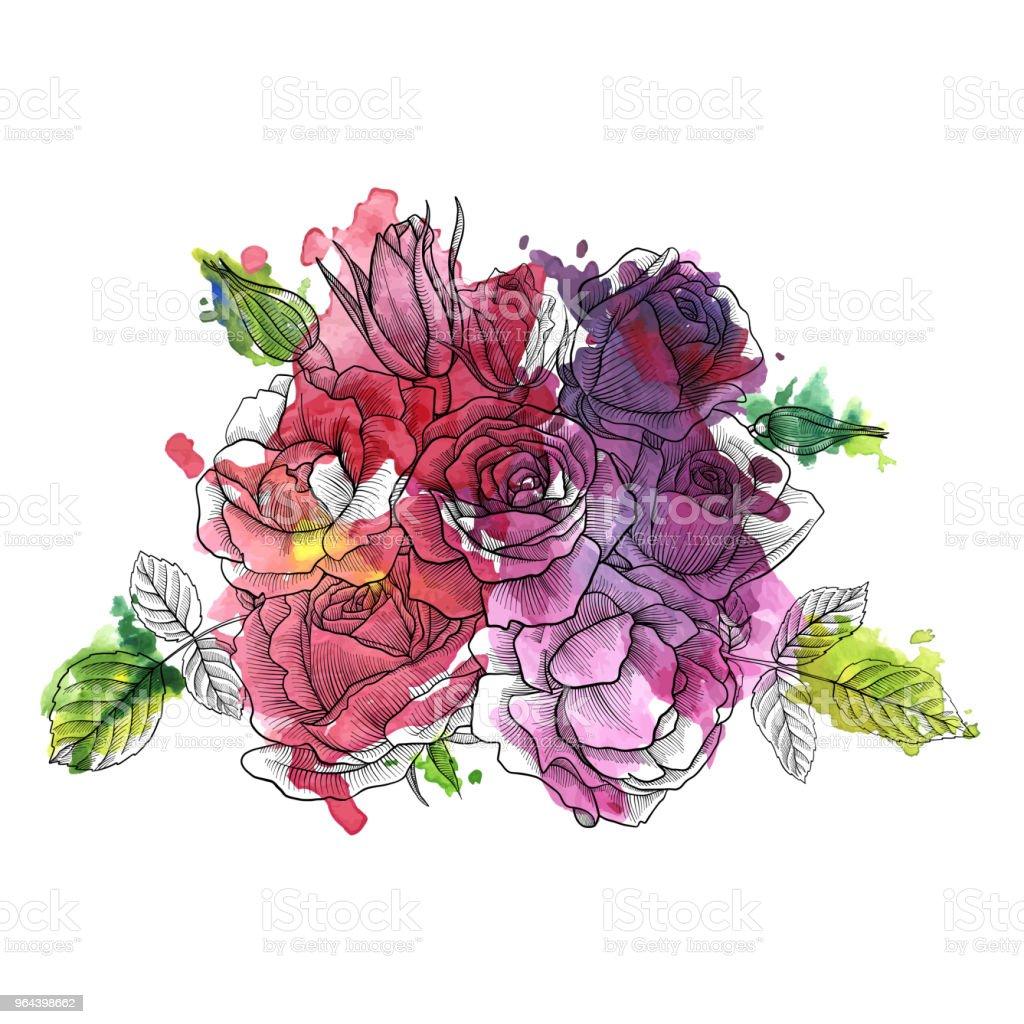 Vintage vector floral samenstelling - Royalty-free Achtergrond - Thema vectorkunst