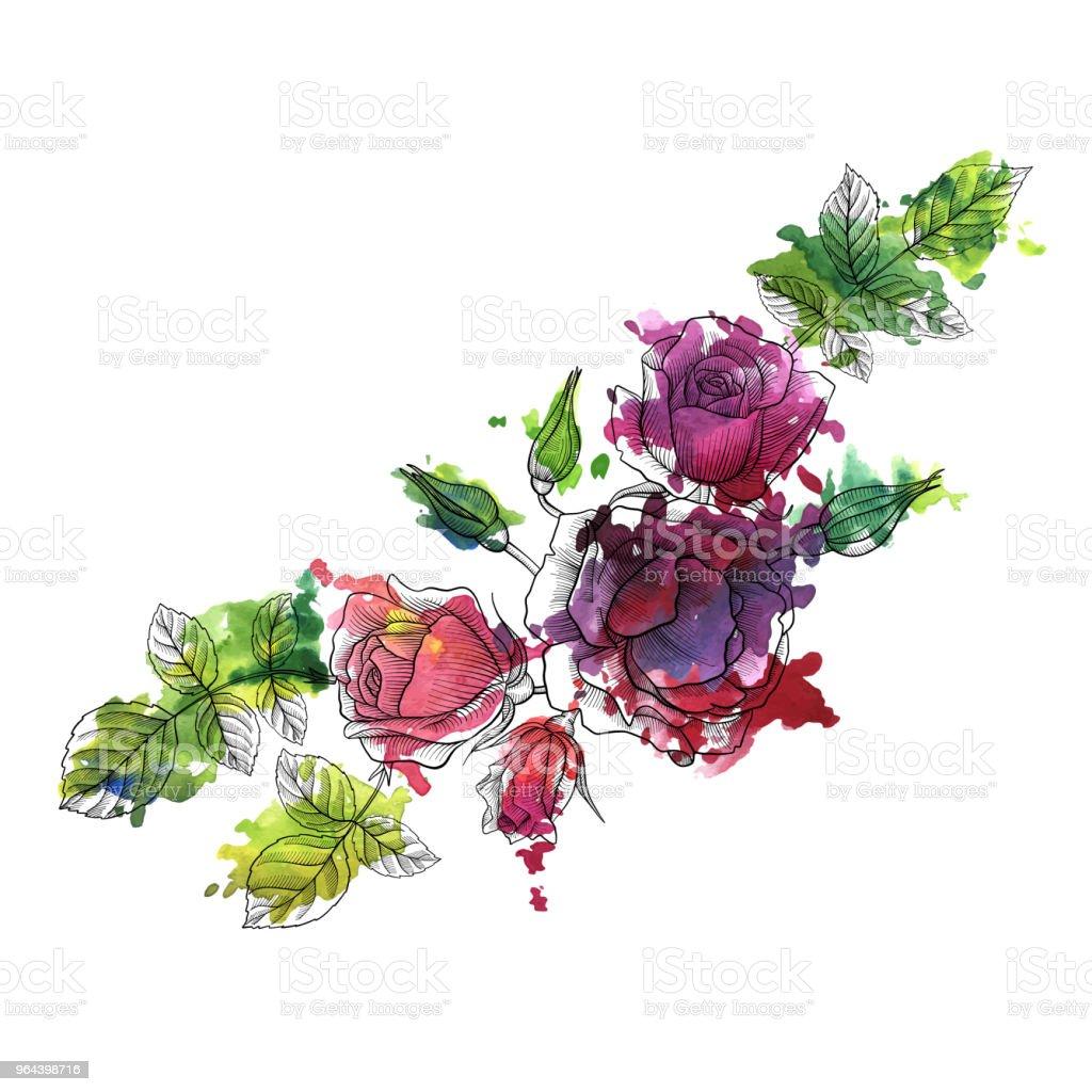 composição floral vetor vintage - Vetor de Antigo royalty-free