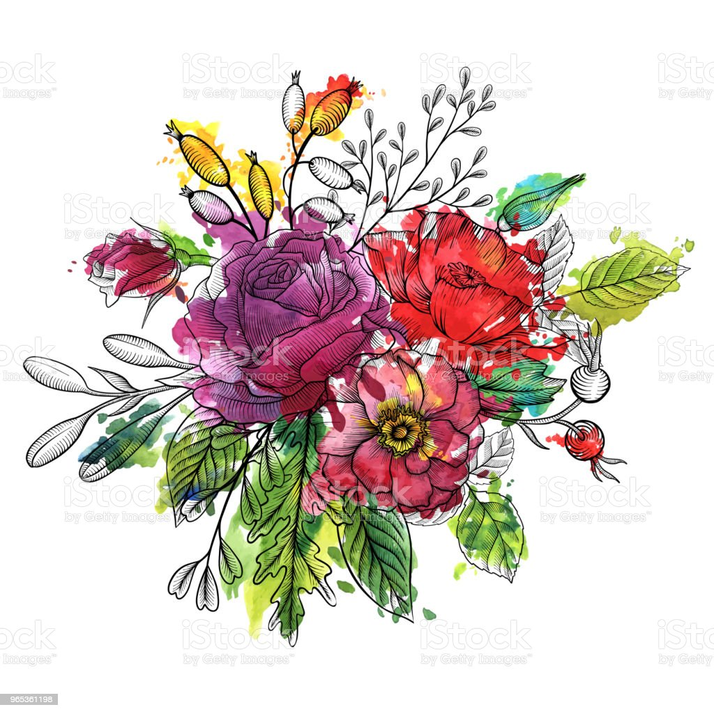 vintage vector floral composition royalty-free vintage vector floral composition stock vector art & more images of art