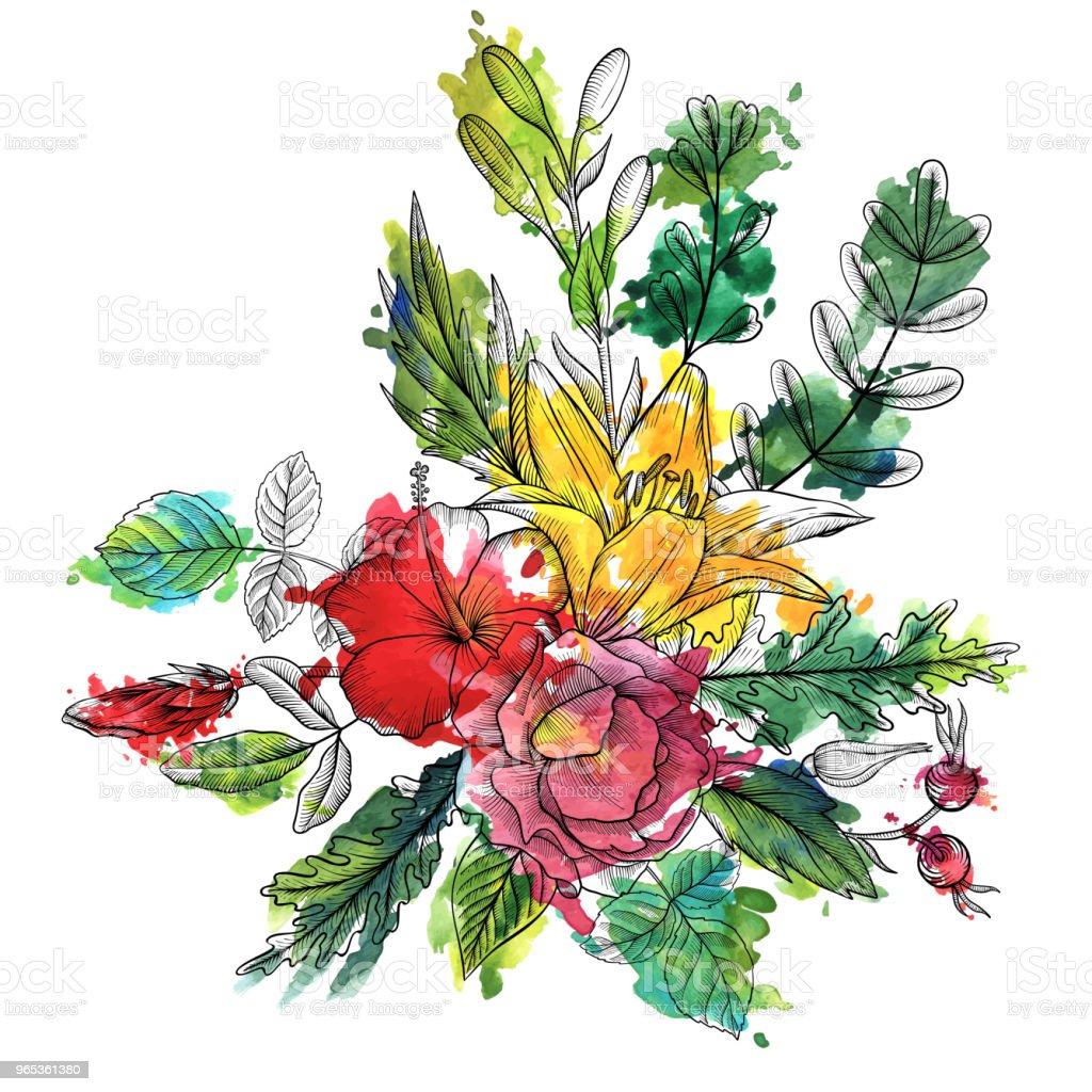 vintage vector floral composition vintage vector floral composition - stockowe grafiki wektorowe i więcej obrazów akwarela royalty-free