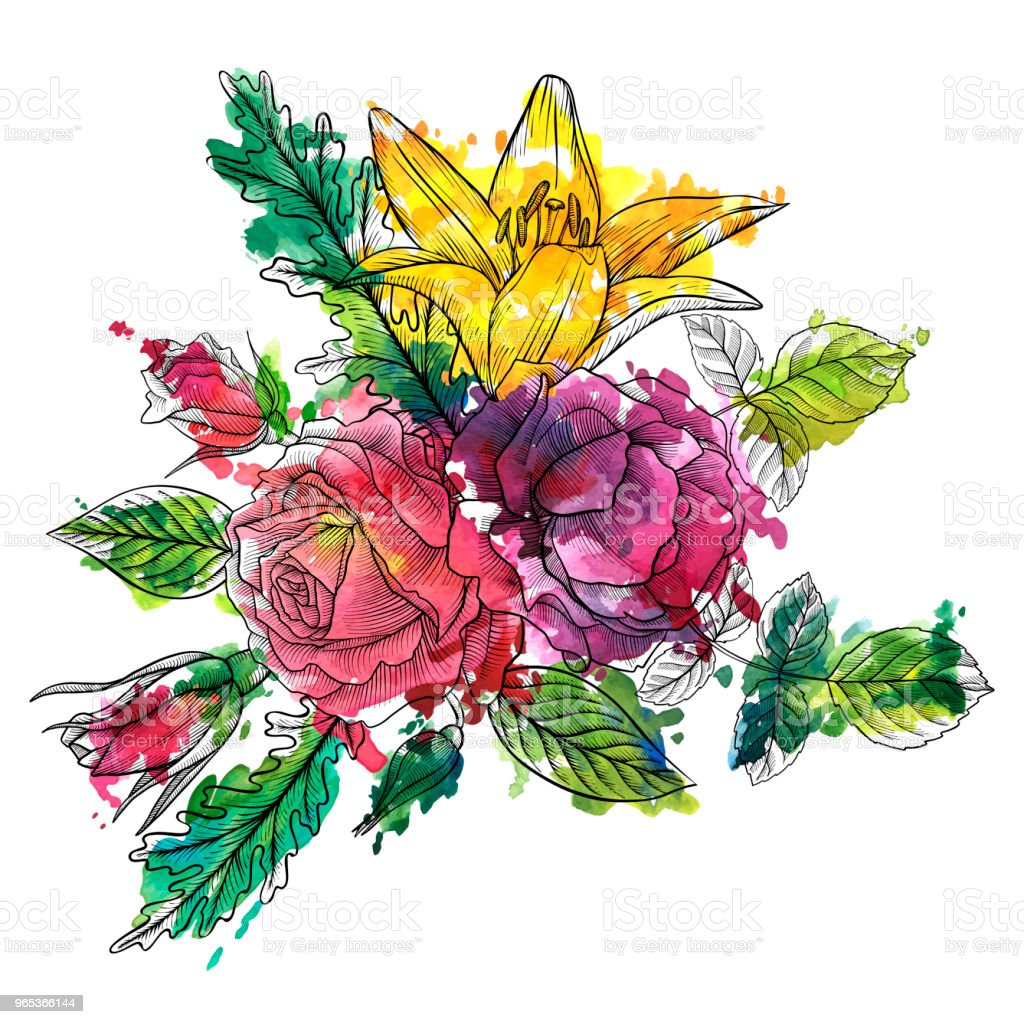 Vintage Vector Floral Composition Stock Vector Art & More Images of Art