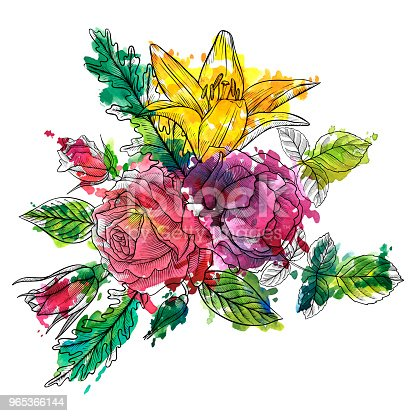 Vintage Vector Floral Composition Stock Vector Art & More Images of Art 965366144