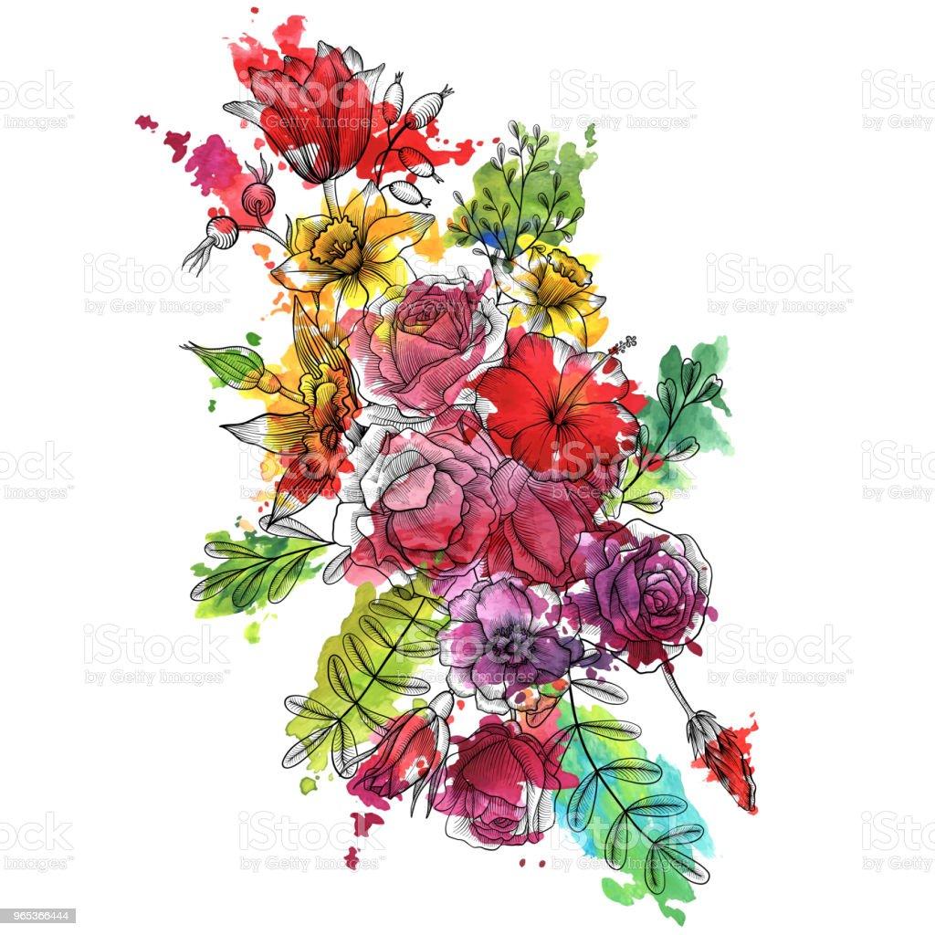 vintage wektor kompozycja kwiatowa - Grafika wektorowa royalty-free (Akwarela)