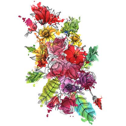 빈티지 벡터 꽃 조성 0명에 대한 스톡 벡터 아트 및 기타 이미지
