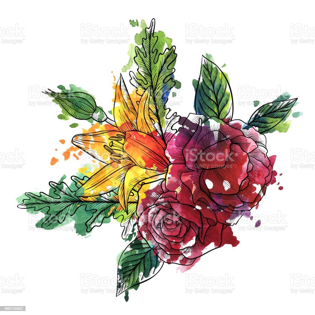 vintage vector floral composition - Векторная графика Акварель роялти-фри