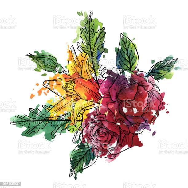 Винтажный Вектор Цветочной Композиции — стоковая векторная графика и другие изображения на тему Акварель
