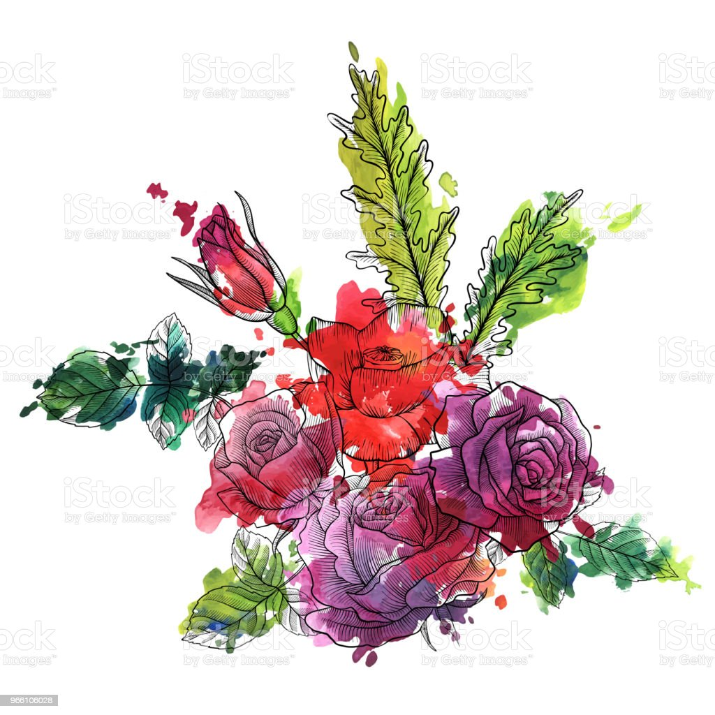 Vintage vector floral samenstelling - Royalty-free Aquarel vectorkunst