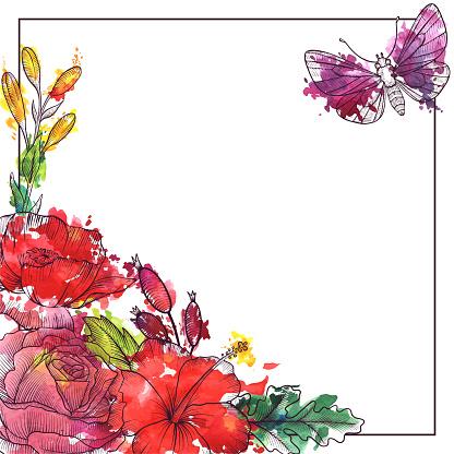 Vintage Vector Floral Composition — стоковая векторная графика и другие изображения на тему Акварель