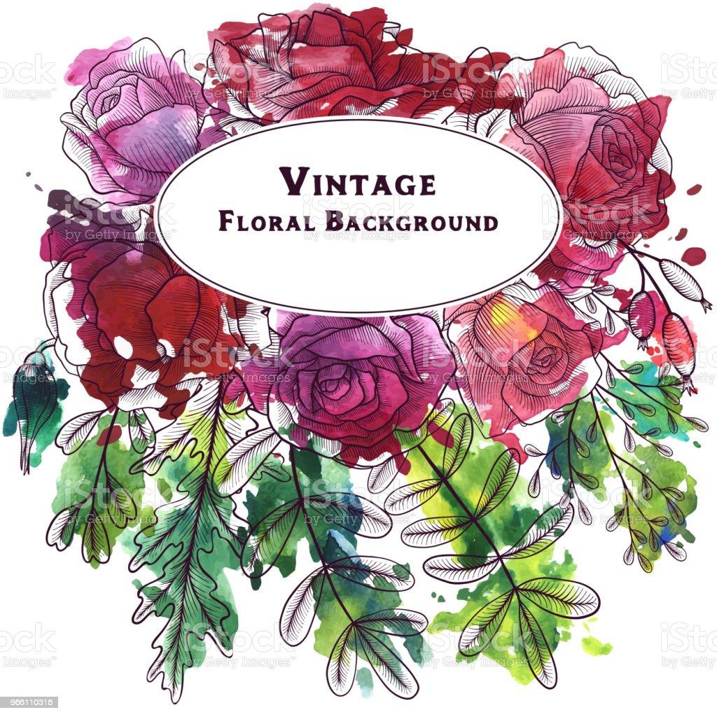 Vintage vektor blommig sammansättning - Royaltyfri Akvarellmålning vektorgrafik
