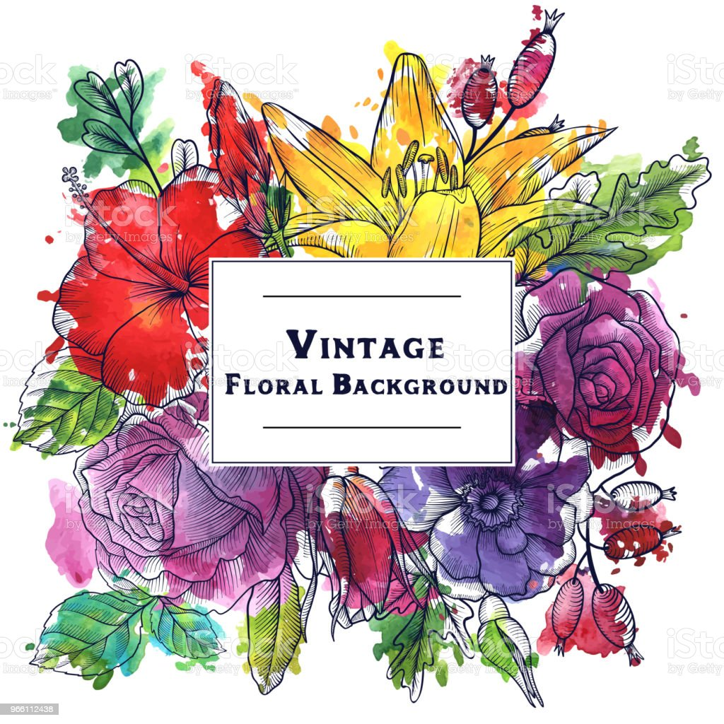 vintage vector floral composition - Royalty-free Art stock vector
