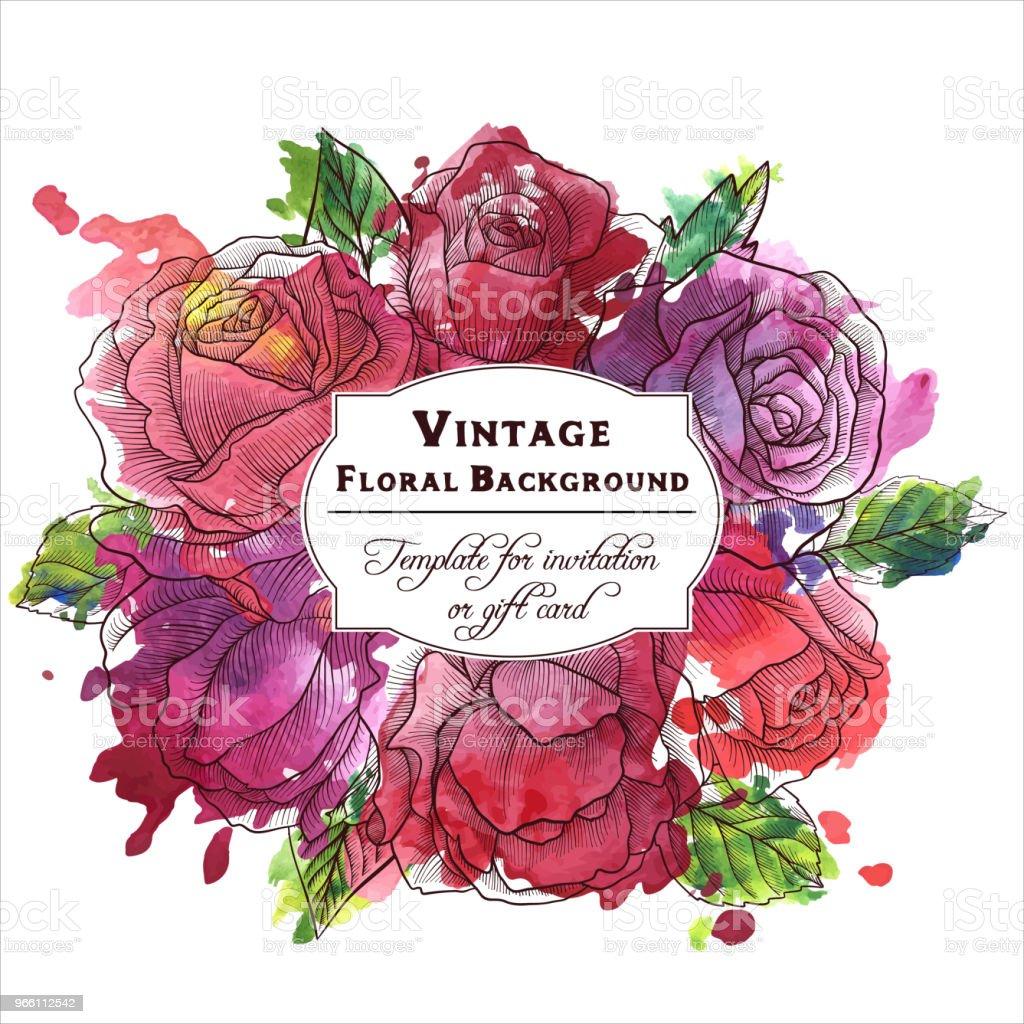 Vintage Vektor florale Komposition - Lizenzfrei Alt Vektorgrafik