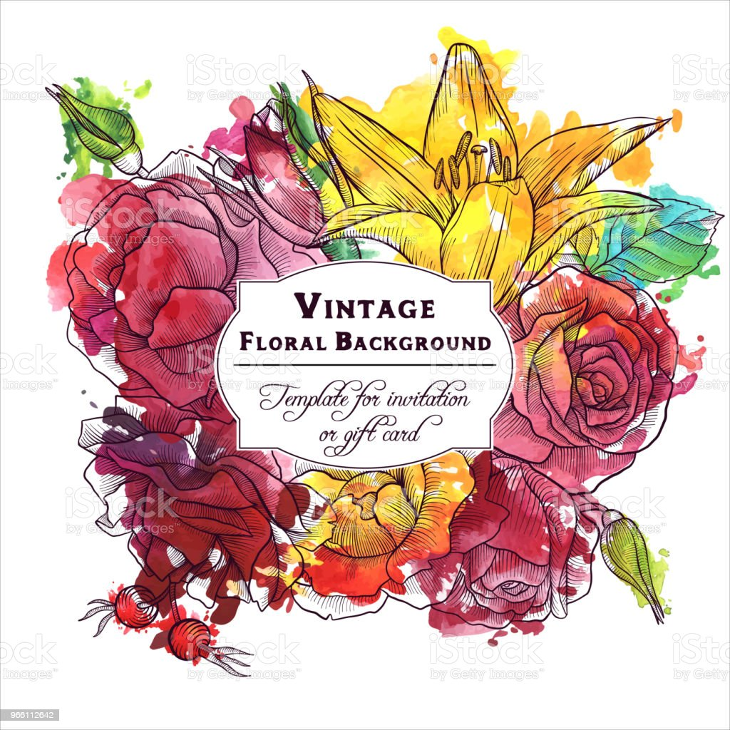 vintage vector floral composition - Royalty-free Antigo arte vetorial