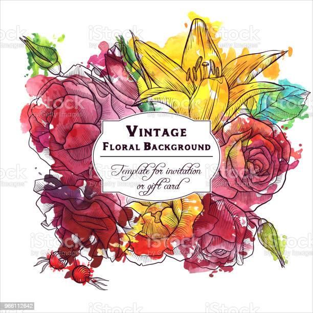 Vintage Vektor Blommig Sammansättning-vektorgrafik och fler bilder på Akvarellmålning