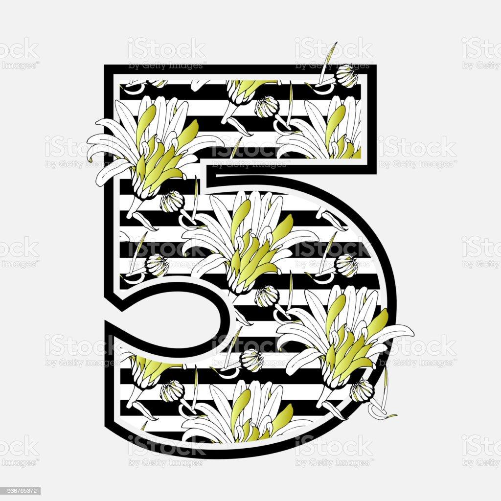 Vetores De Vintage Floral Numero 5 Com Flores De Camomila Sujo Com