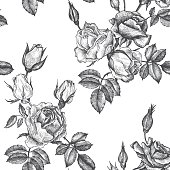vintage vector floral seamless pattern in victorian style with flowers, buds and leaves of roses, ink drawing, imitation of engraving, hand drawn background
