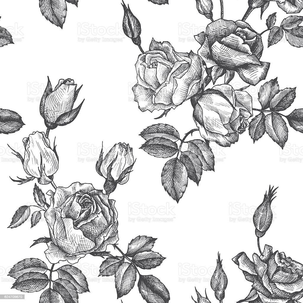 vintage vector floral seamless pattern vector art illustration