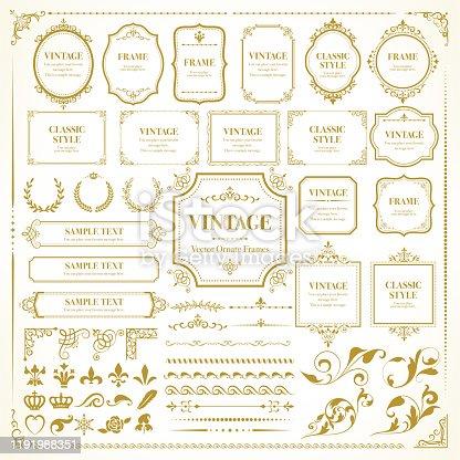 istock Vintage vector frames / Set of template / Retro  design for monograms, invitations, frames, banners, menus, labels and websites. 1191988351