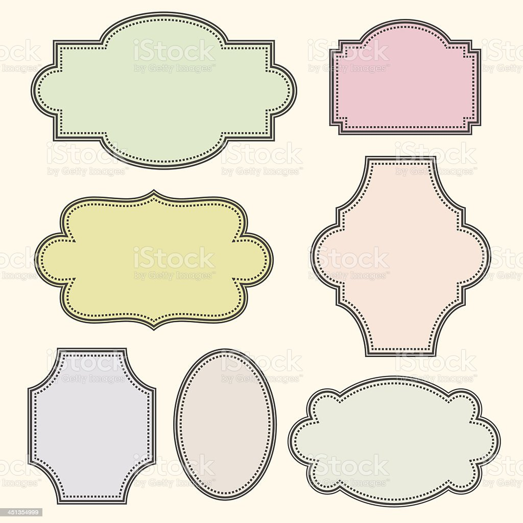 Drawing of vintage colored frames  vector art illustration