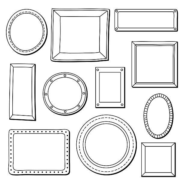 ilustraciones, imágenes clip art, dibujos animados e iconos de stock de vector conjunto de marcos antiguos - marcos de garabatos y dibujados a mano