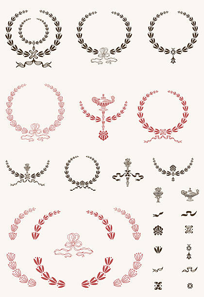 vintage vektor garland set - pompeii stock-grafiken, -clipart, -cartoons und -symbole