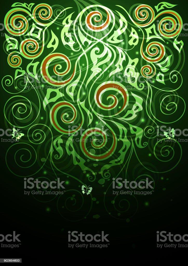 Vintage vector green floral background illustration vector art illustration