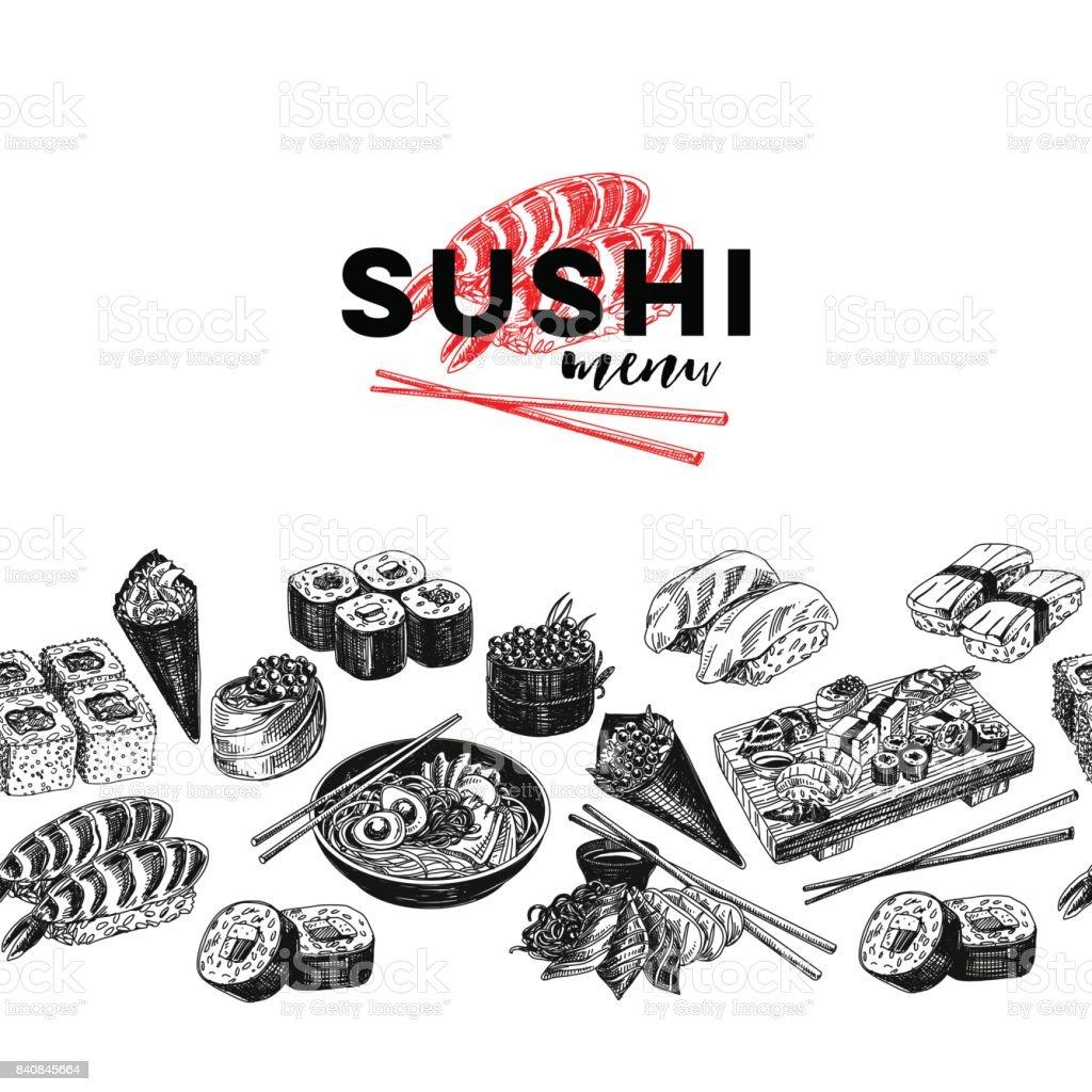 Vintage vector hand drawn Japanese food sketch Illustration. vector art illustration