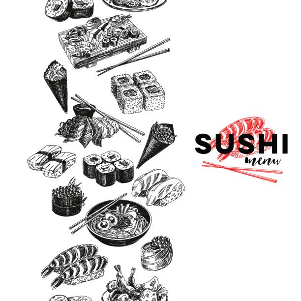 ビンテージ ベクトル手描き日本食は、図をスケッチします。 - 寿司点のイラスト素材/クリップアート素材/マンガ素材/アイコン素材