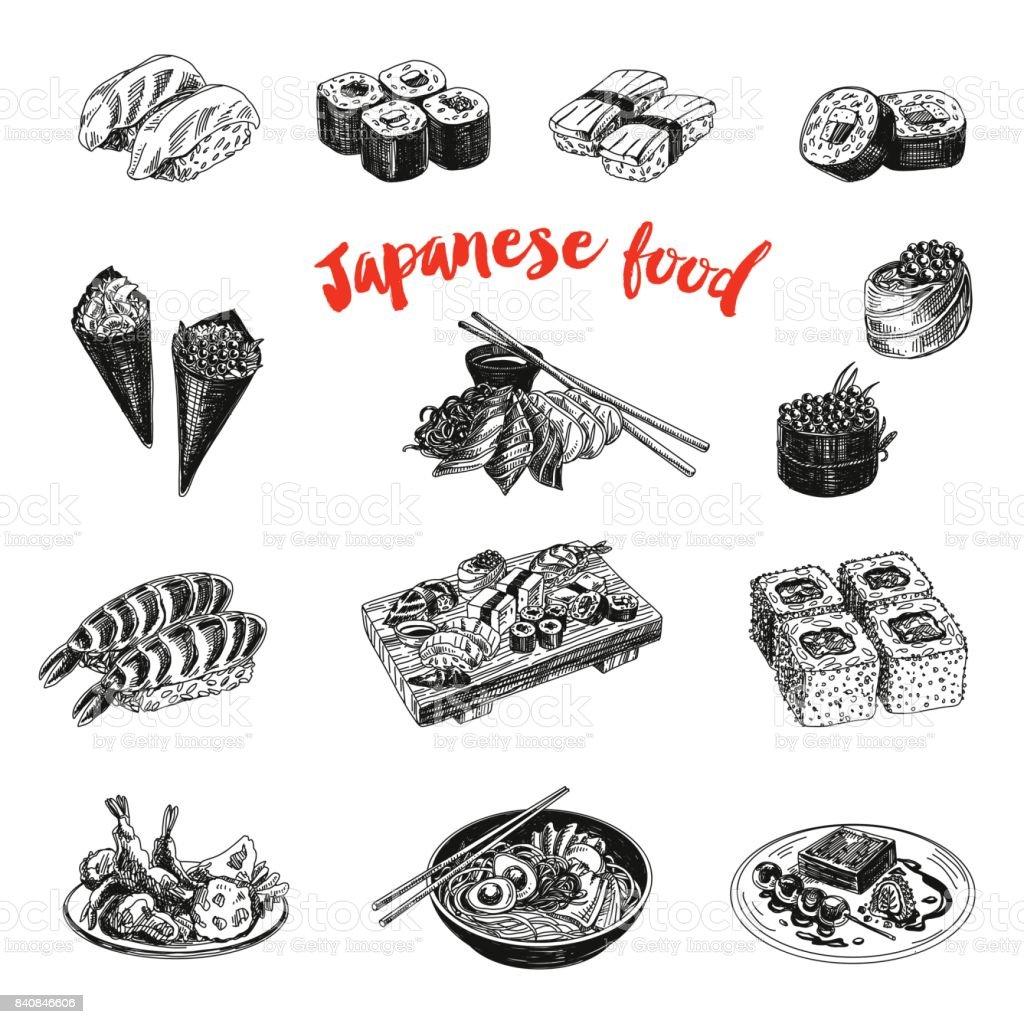 Une cuisine japonaise dessinés à la main Vintage vector sketch Illustration. - Illustration vectorielle