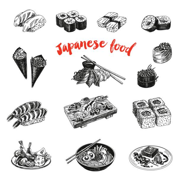 vintage vector hand drawn japanese food sketch illustration. - japanese food stock illustrations