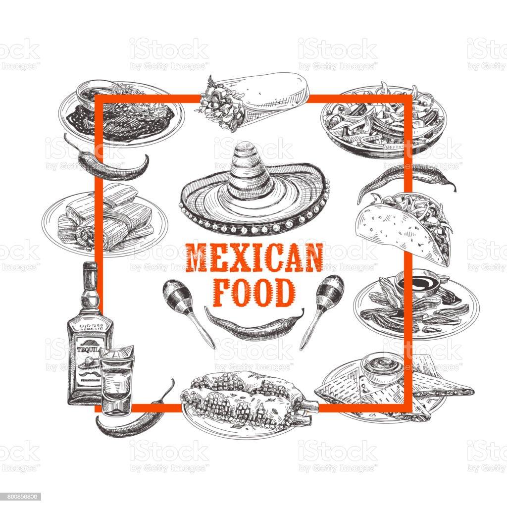 Dibujo vector vendimia de comida mexicana de dibujado a mano ilustración. - ilustración de arte vectorial