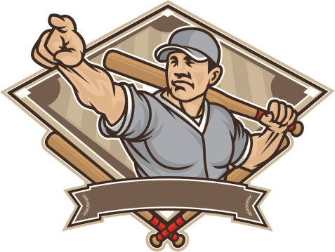 Vintage vector illustration of a man with a baseball bat