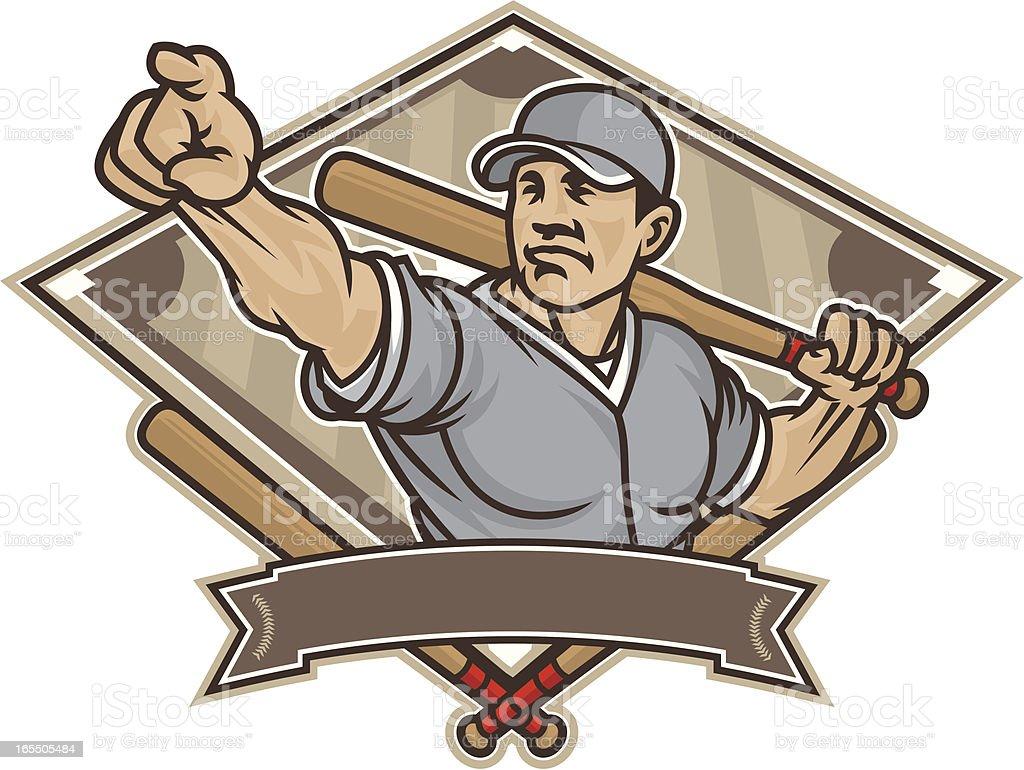 Vintage vector illustration of a man with a baseball bat vector art illustration