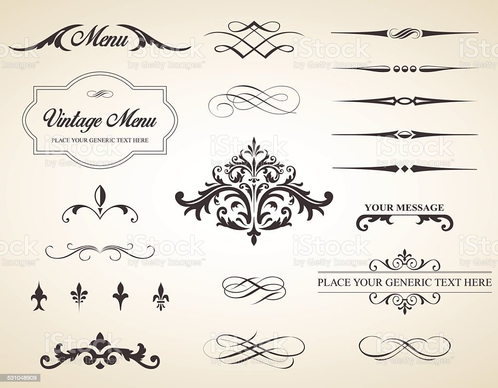Vintage Vector Label Page Dividers and Borders vector art illustration
