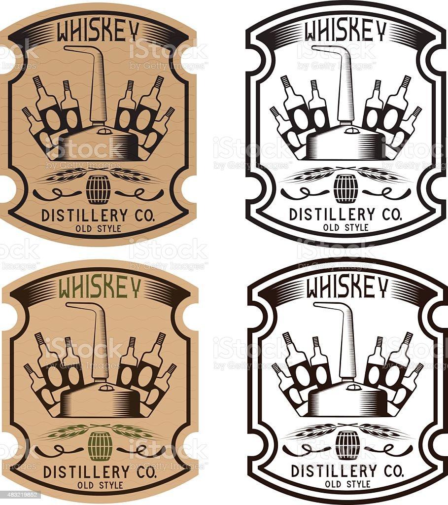 Etiquetas vintage vector de whisky con whisky siendo cobre - ilustración de arte vectorial