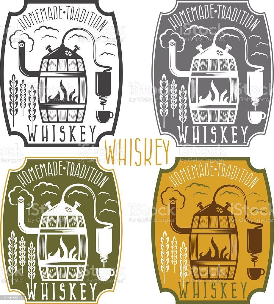 Etiquetas vintage vector de whisky con alcohol de inicio de máquina - ilustración de arte vectorial