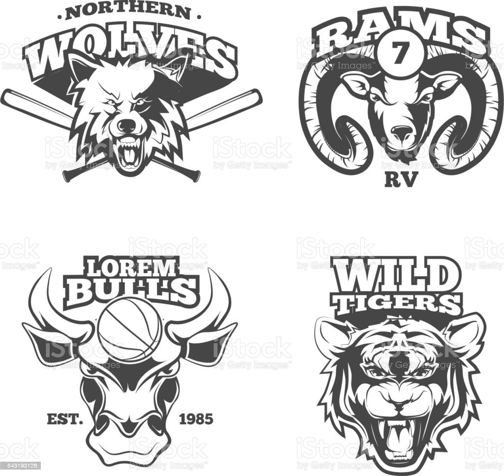 Vintage vector labels with wolf, bulls, ram and tiger vector art illustration