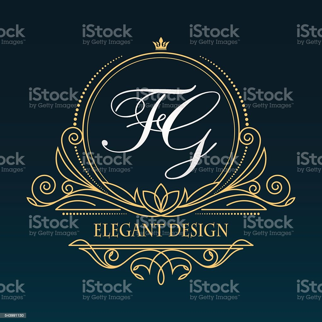 Vintage vector monogram. vector art illustration