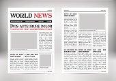 Vintage vector newspaper. Journal template. Old paper tabloid.