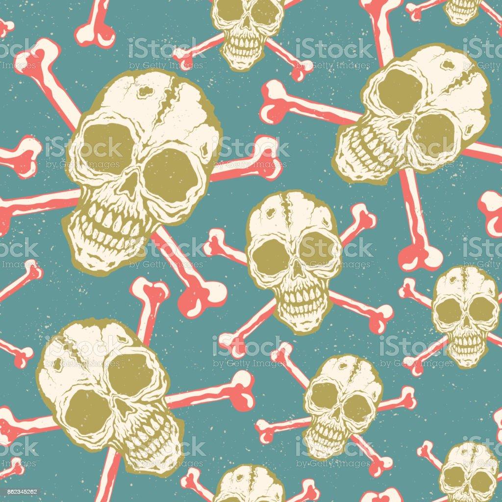 Vintage vector pattern with skulls. vector art illustration