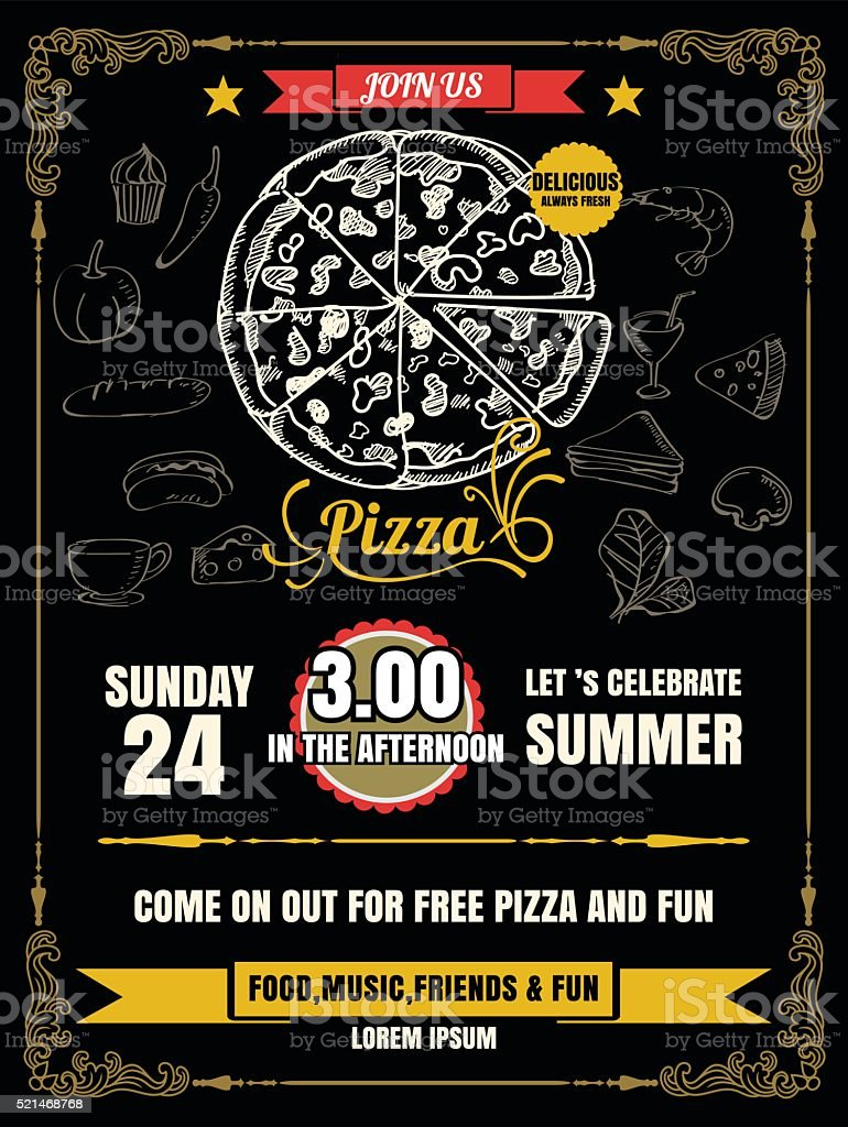 Vintage Vector Pizza Party Flyer Invitation Template Design Stock