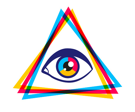 Vintage vector poster with pyramid and eye.