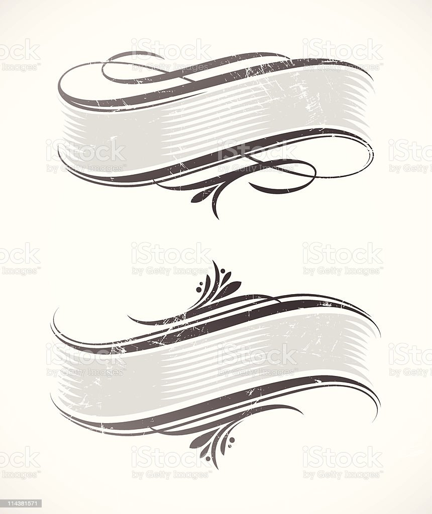 Vintage vector scroll with calligraphic elements vector art illustration