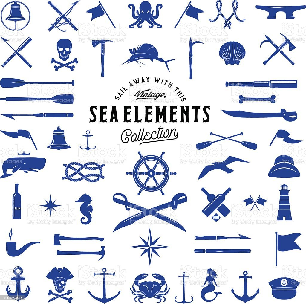 Vintage Vector Sea or Nautical Icon Elements Set for Your vector art illustration