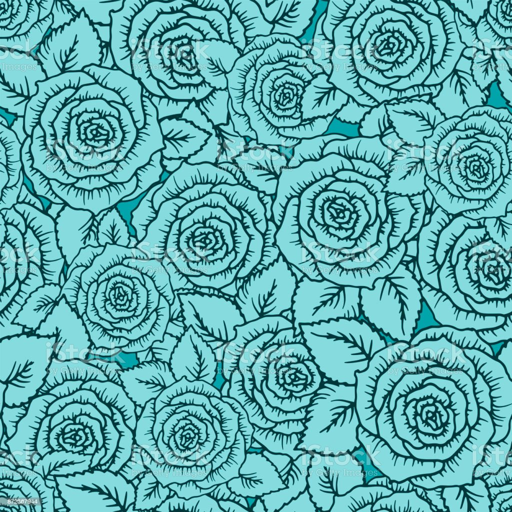 Vintage Vector Seamless Pattern With Garden Roses On Light Mint