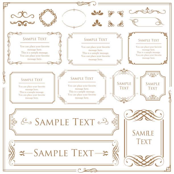 復古向量集。用於設計單字、邀請、框架、功能表、標籤和網站的花卉元素。用於設計咖啡館、精品店目錄和摺頁冊的圖形元素 - 有邊框的 幅插畫檔、美工圖案、卡通及圖標