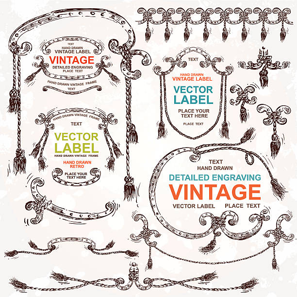 vintage vector set: hand drawn design elements and frames - rodeo stock illustrations, clip art, cartoons, & icons