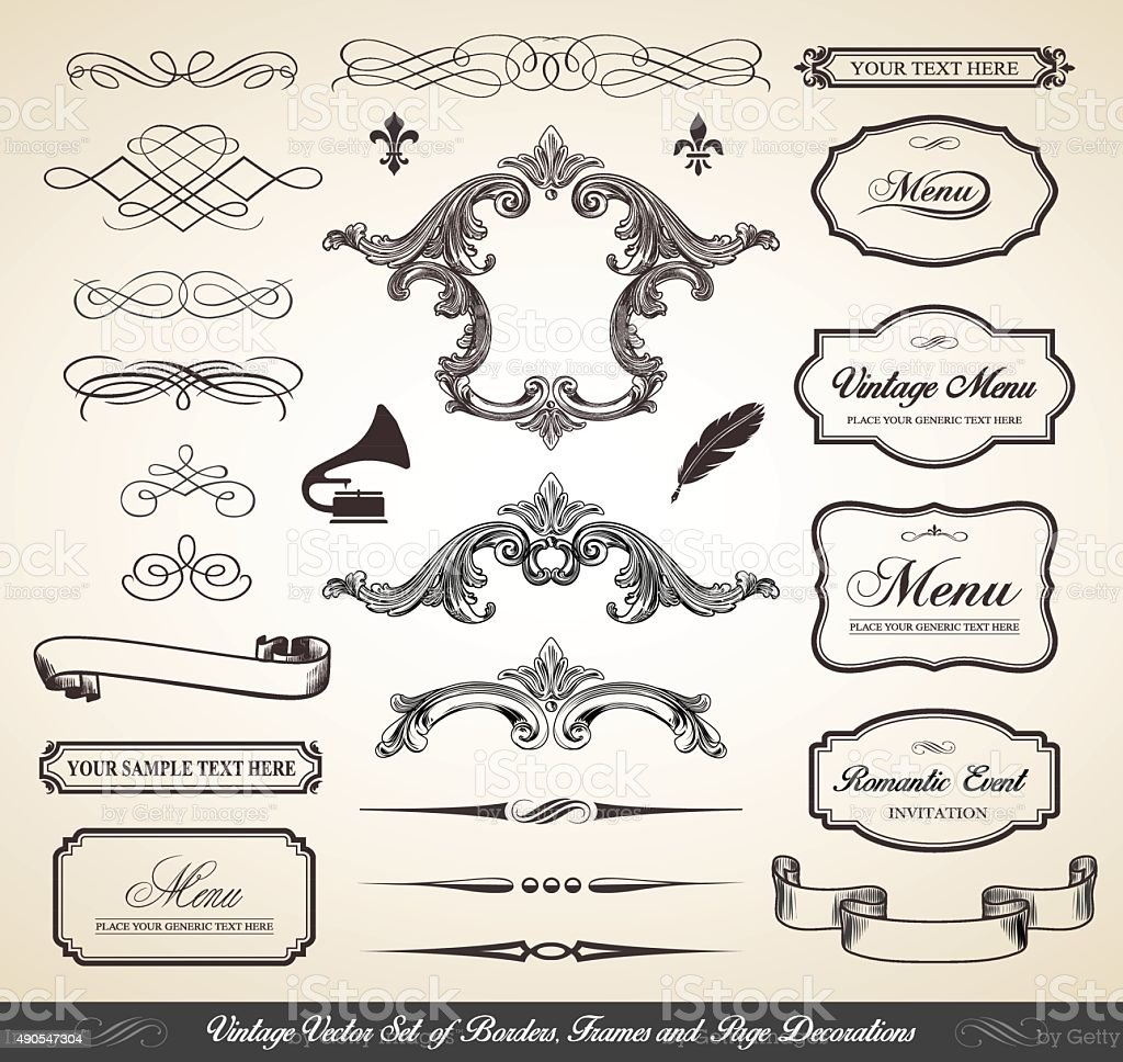 Vintage Vector Set of Borders Frames and Page Decorations vector art illustration